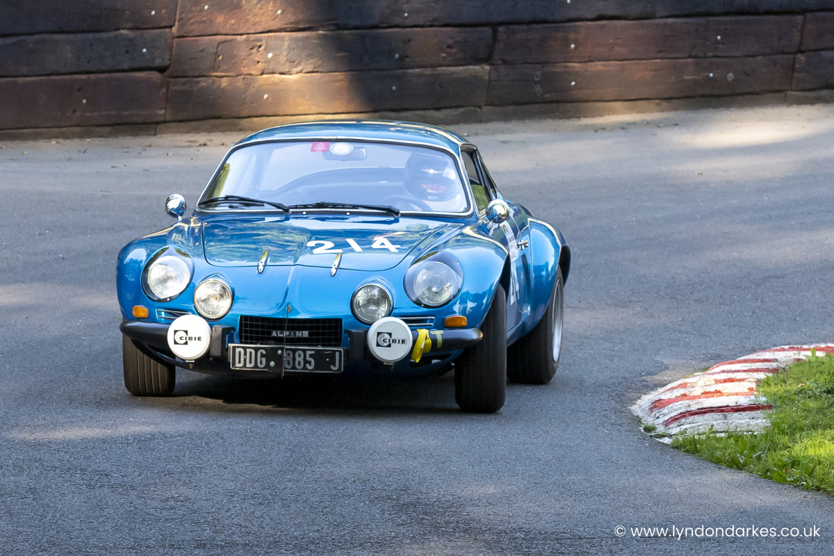 Simon Durling in an Alpine A110 at Shelsley Walsh September 2021