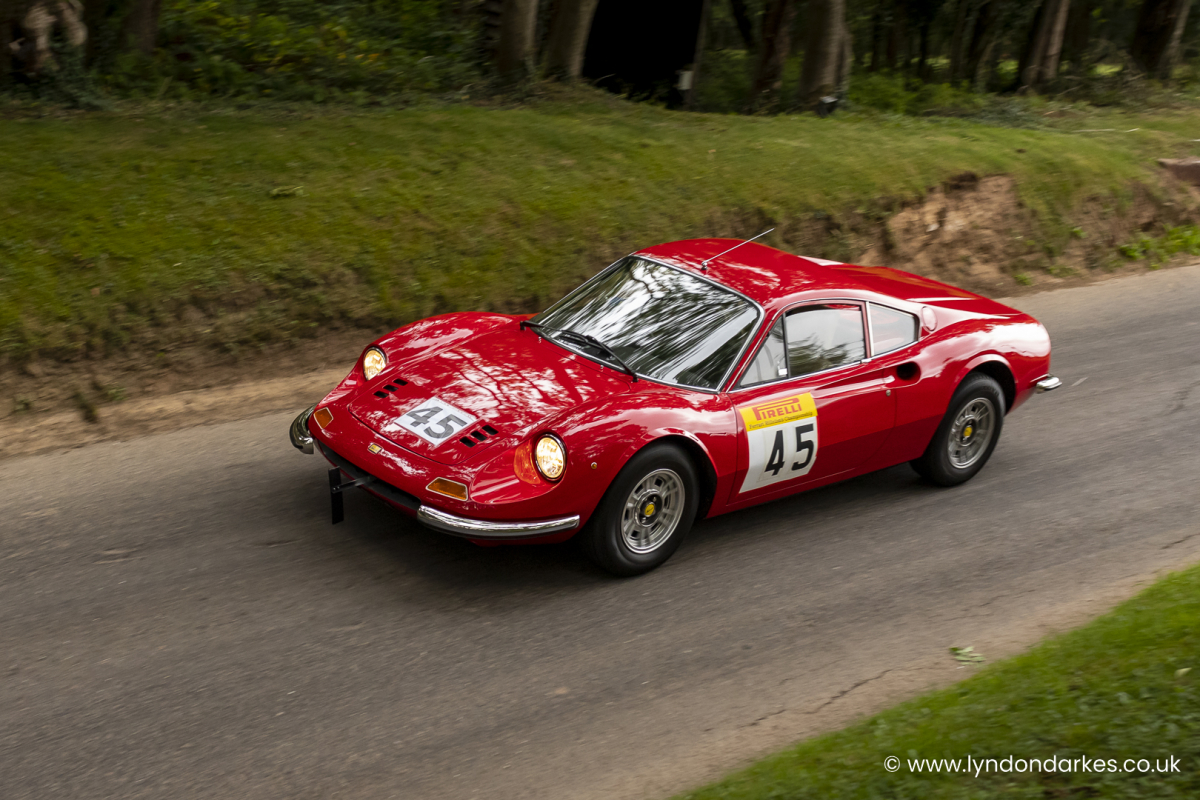 Anthony Attwood in a Ferrari Dino 246GT at Shelsley Walsh September 2021